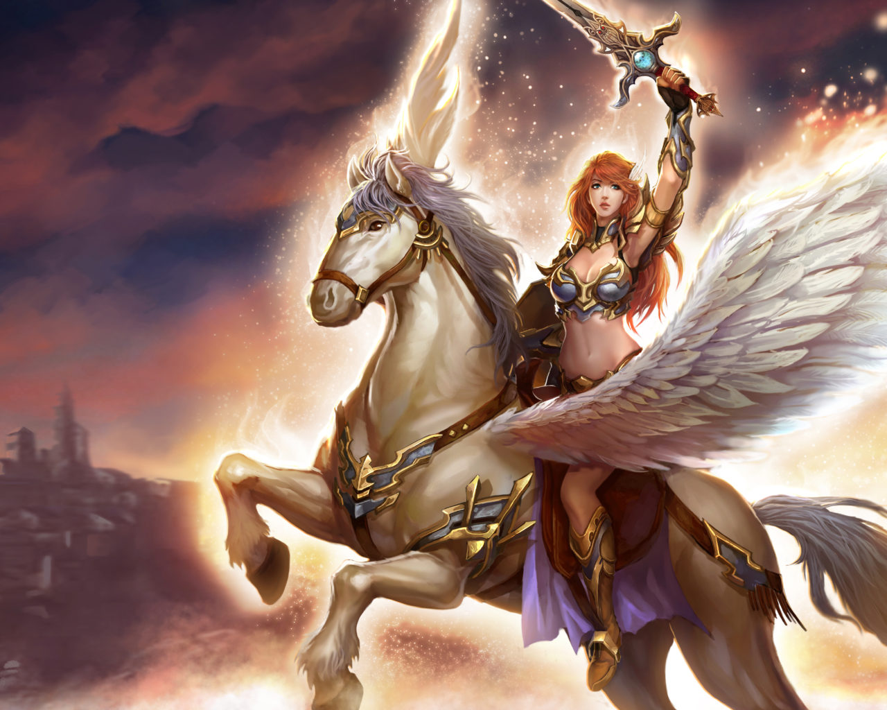 Beautiful Girl Full Screen Wallpaper Angel Warrior Fantasy Art Girl Sword Game White Horse