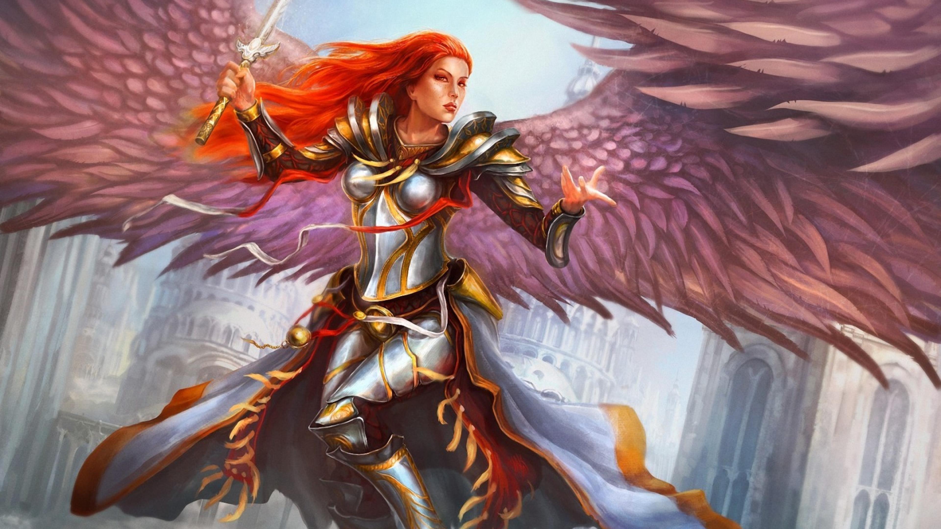 Gothic Girl Wallpaper Fantasy Angel Redhead Fantasy Girl Feather Wings Ultra 3840x2160