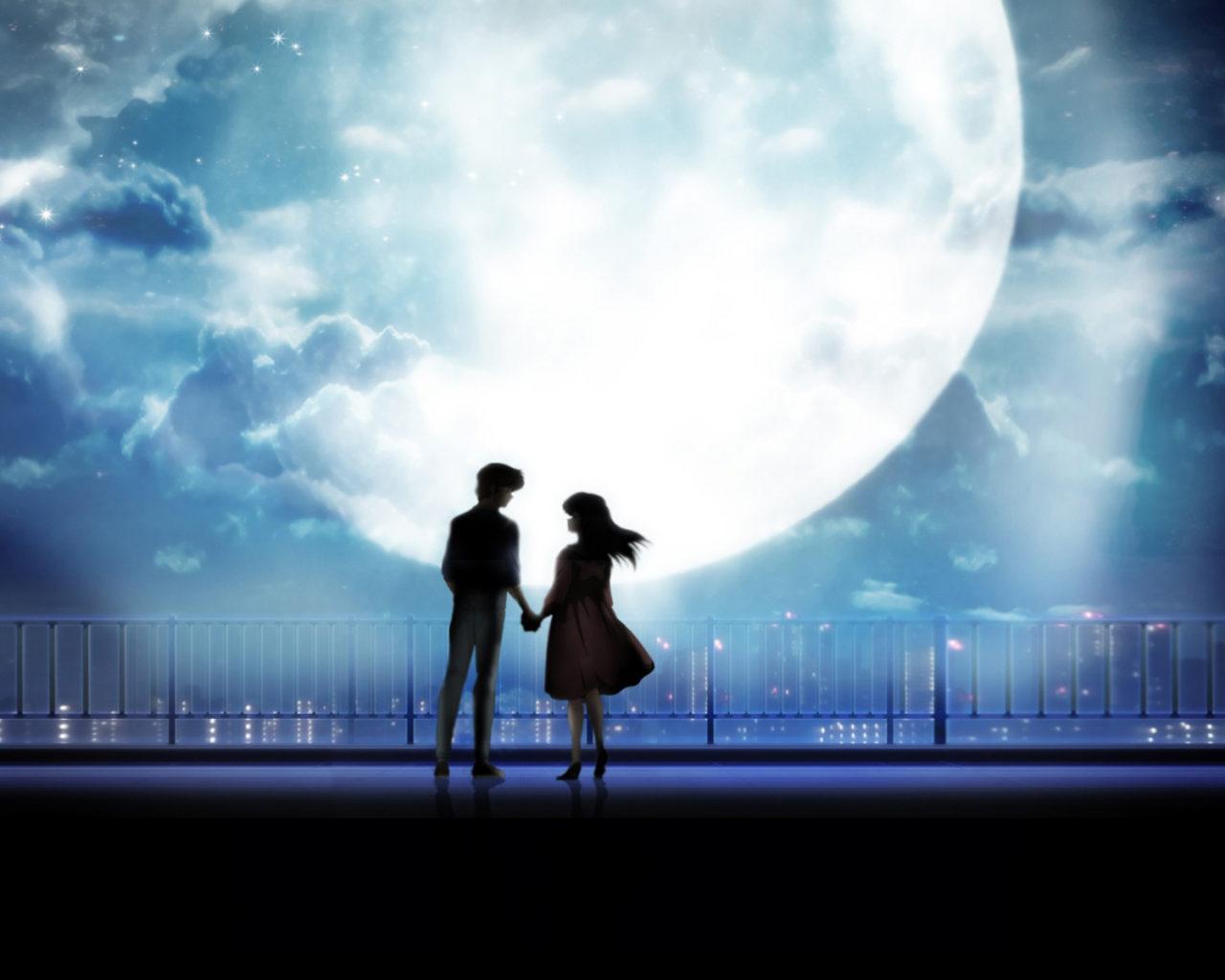 Girl Anime Wallpaper Free Download Anime Art Anime Couple Holding Hands Moonlight Desktop
