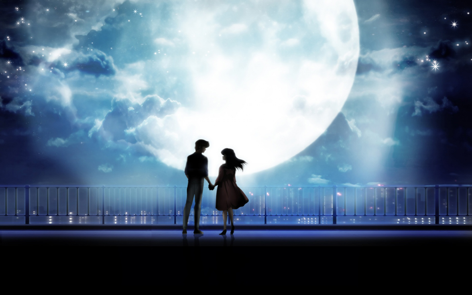 Wallpaper Boy And Girl Love Anime Art Anime Couple Holding Hands Moonlight Desktop