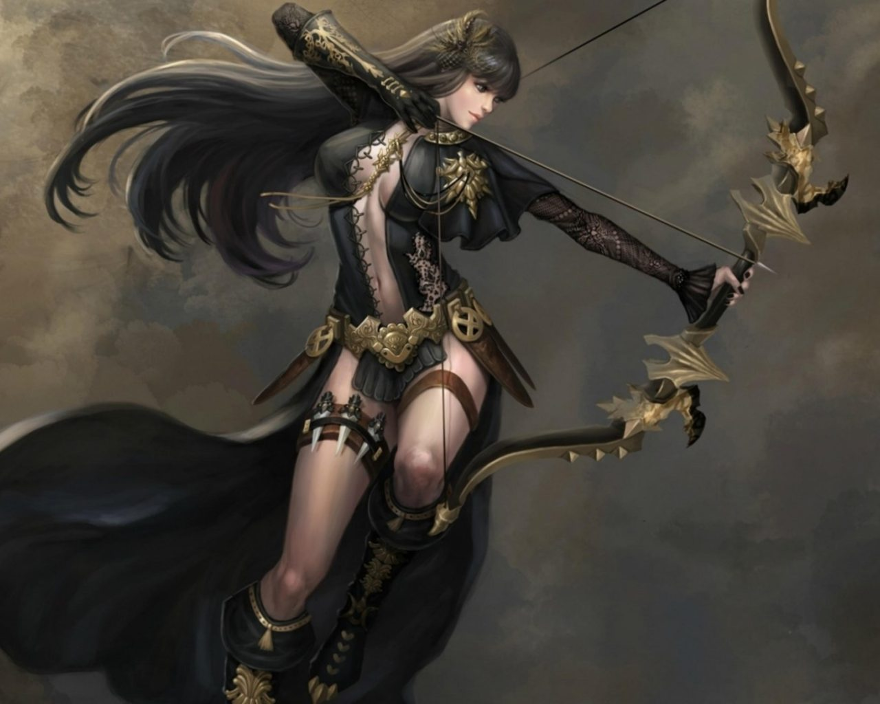 Asian Girl Hd Wallpaper 1920x1200 Archer Arrow Black Fighter Woman Girl Game Ultra Bow And