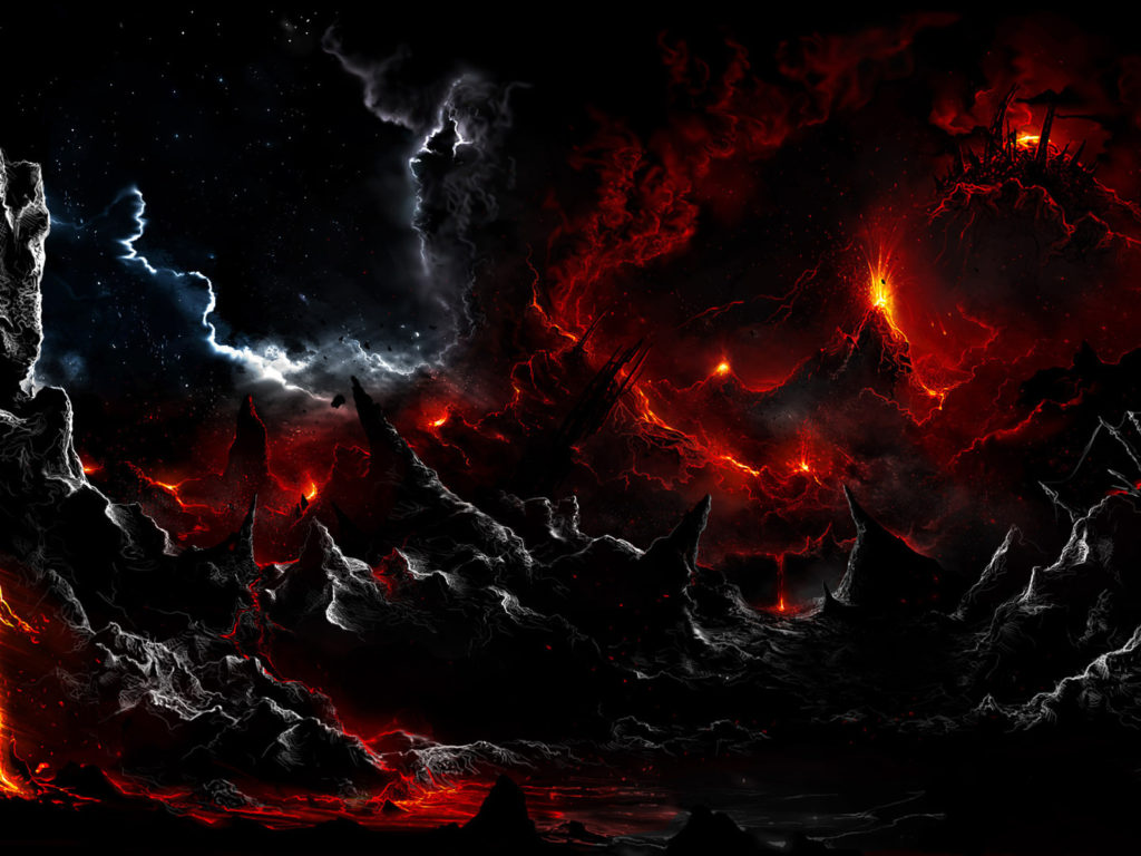 Warrior Girl Wallpaper Hd Dark Volcano Smoke Eruption Lava Fantasy Landscapes Stars