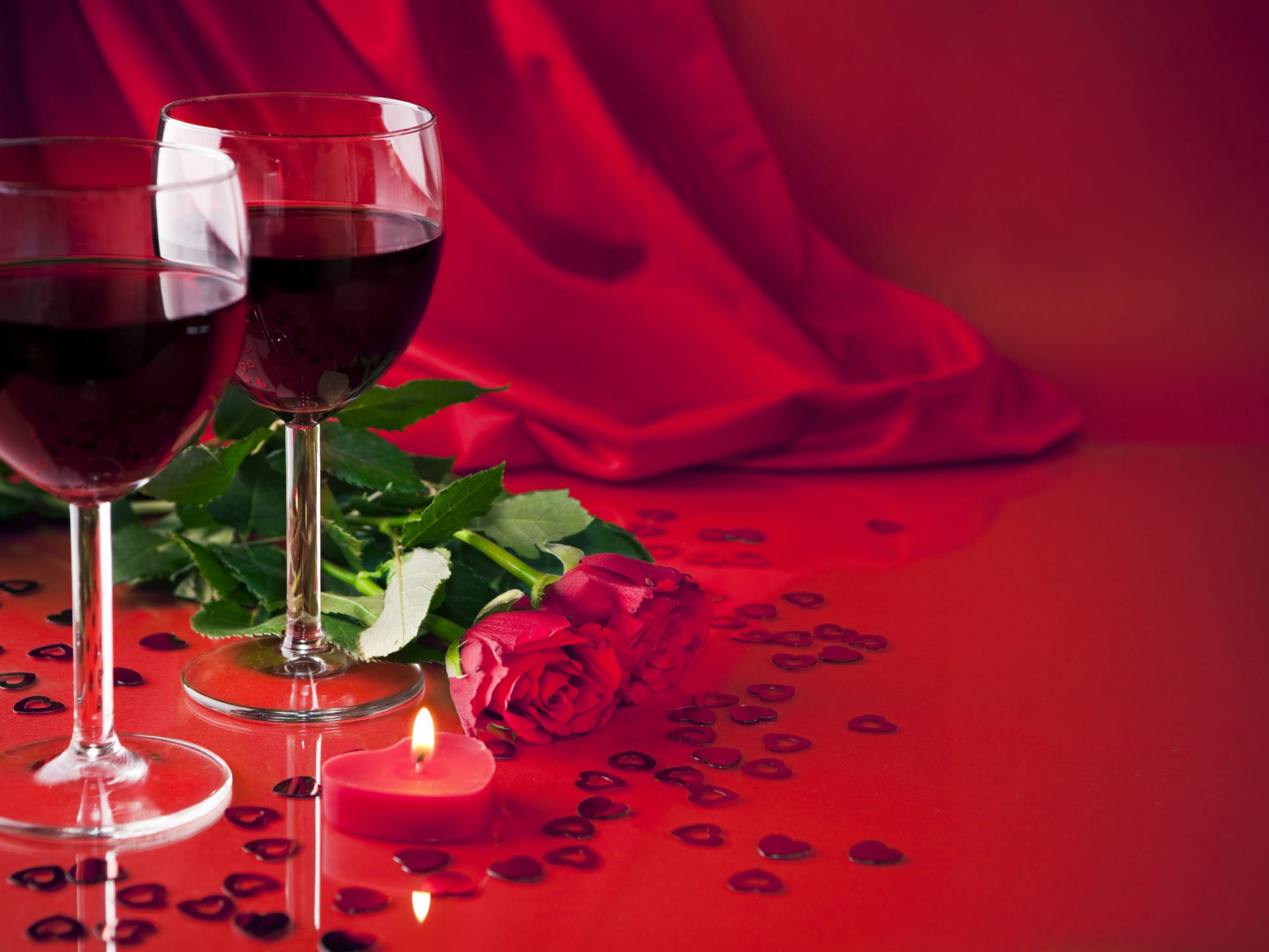 Glass Animals Wallpaper Glasses Of Wine Red Roses Light Candle 001 Wallpapers13 Com