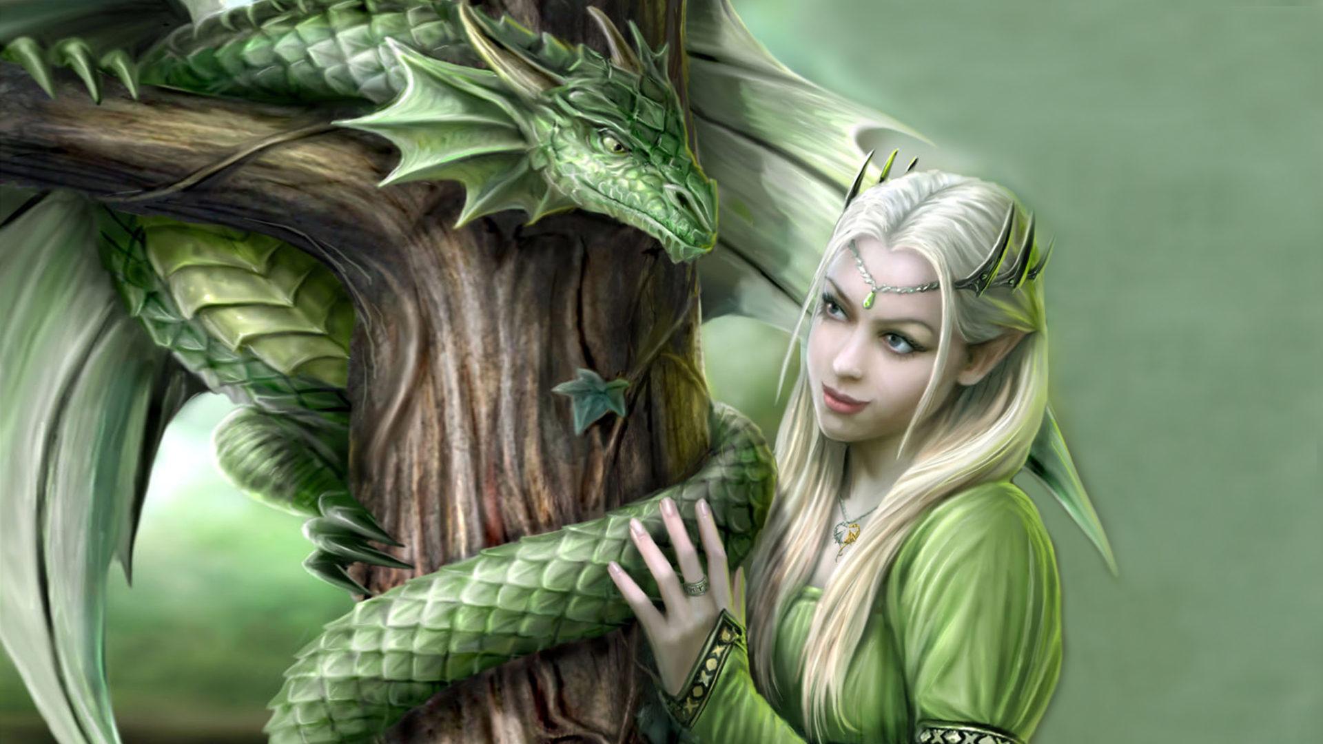 Genji Wallpaper Iphone Green Dragon And Princess Fantasy Digital Art Hd Desktop