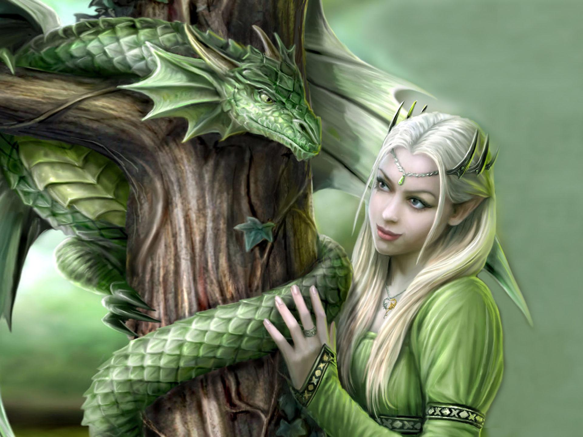 Overwatch Wallpaper Girls Green Dragon And Princess Fantasy Digital Art Hd Desktop