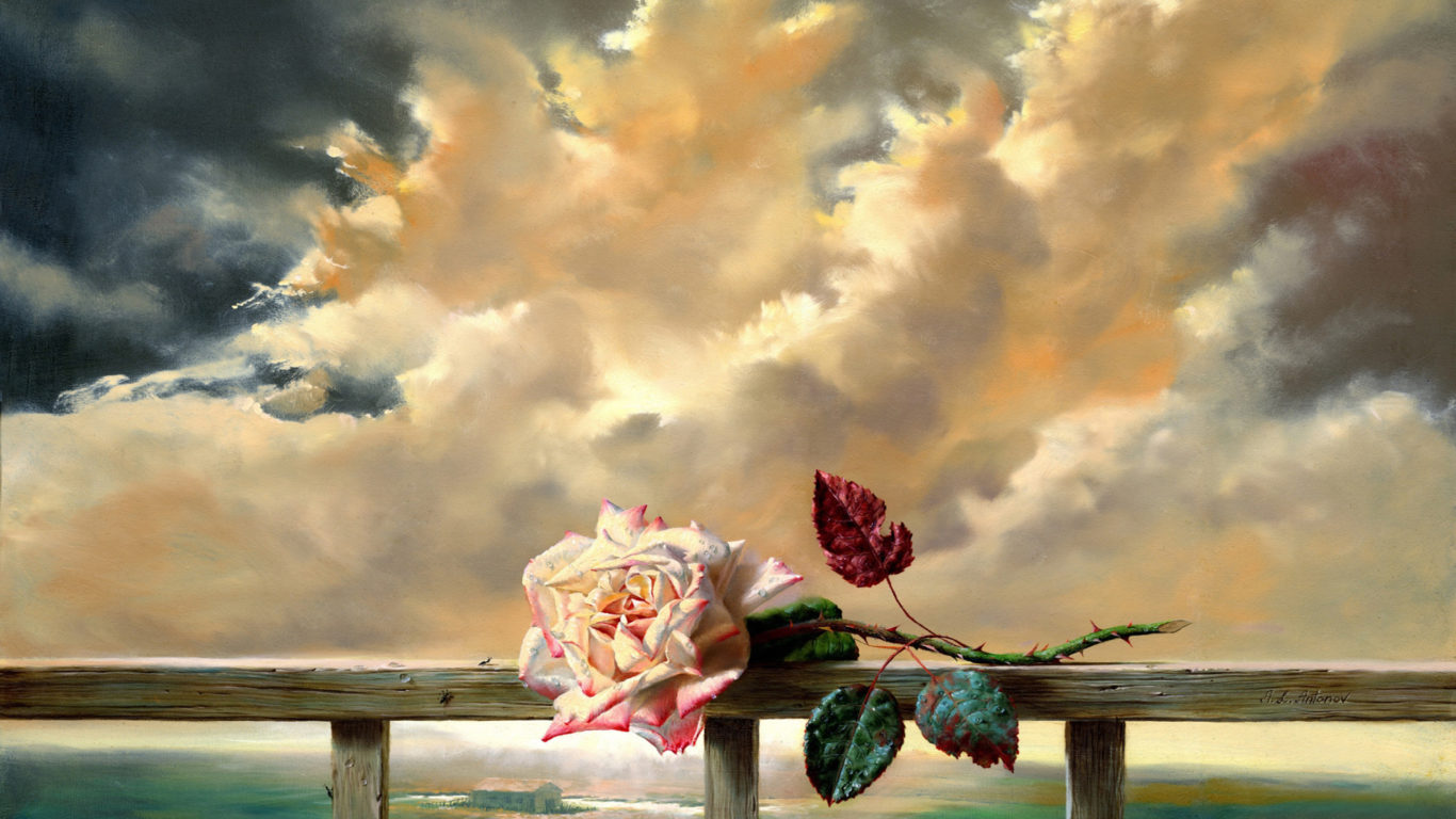 Beautiful Girl With Roses Wallpapers Hd Wallpapers Painting Flower Freshness Rose Clouds