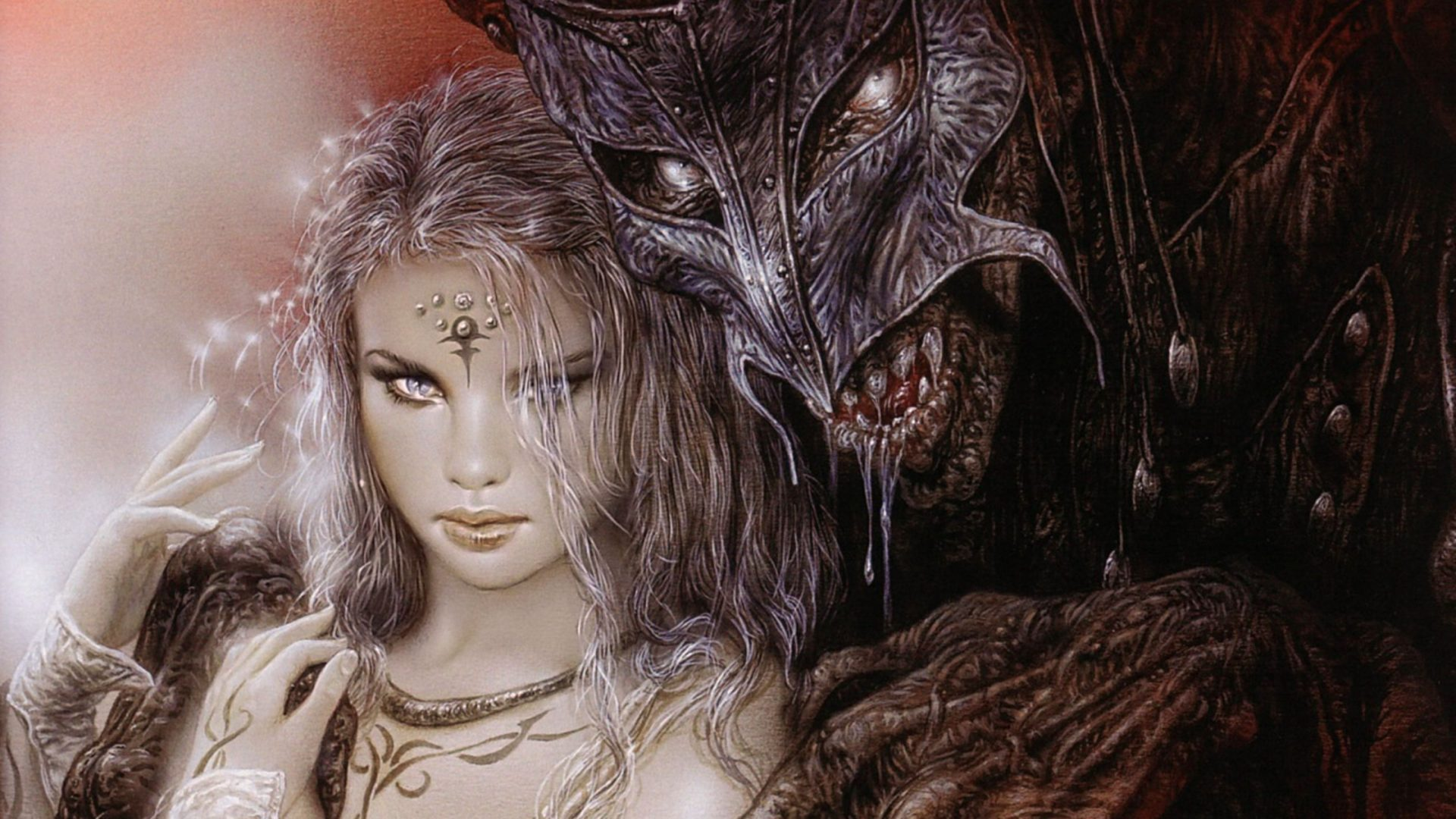 Beauty Girl Hd Wallpaper Download Luis Royo Fantasy Dark Horror Demon Women Art Mask Monster
