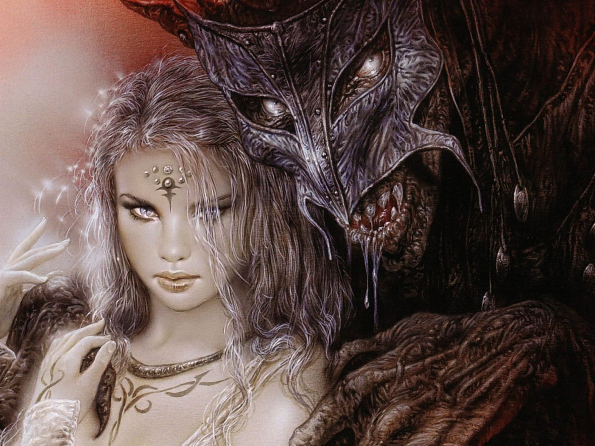 Iphone 5 Wallpaper For Girls Luis Royo Fantasy Dark Horror Demon Women Art Mask Monster