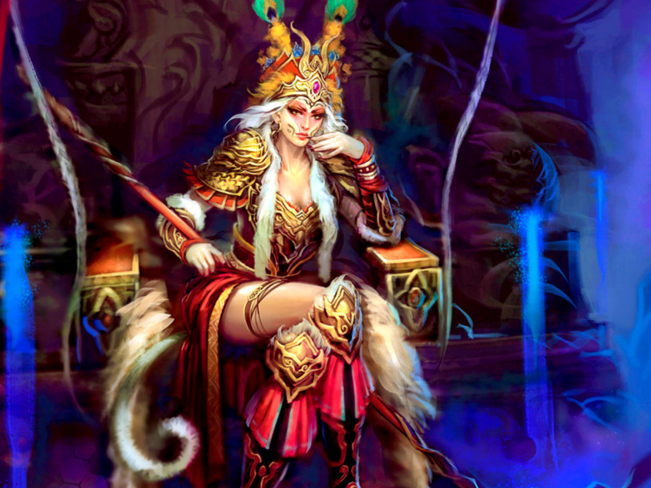 Anime Witch Girl Wallpaper Queen Throne Woman Fantasy Abstract 2560x1440 Hd Wallpaper