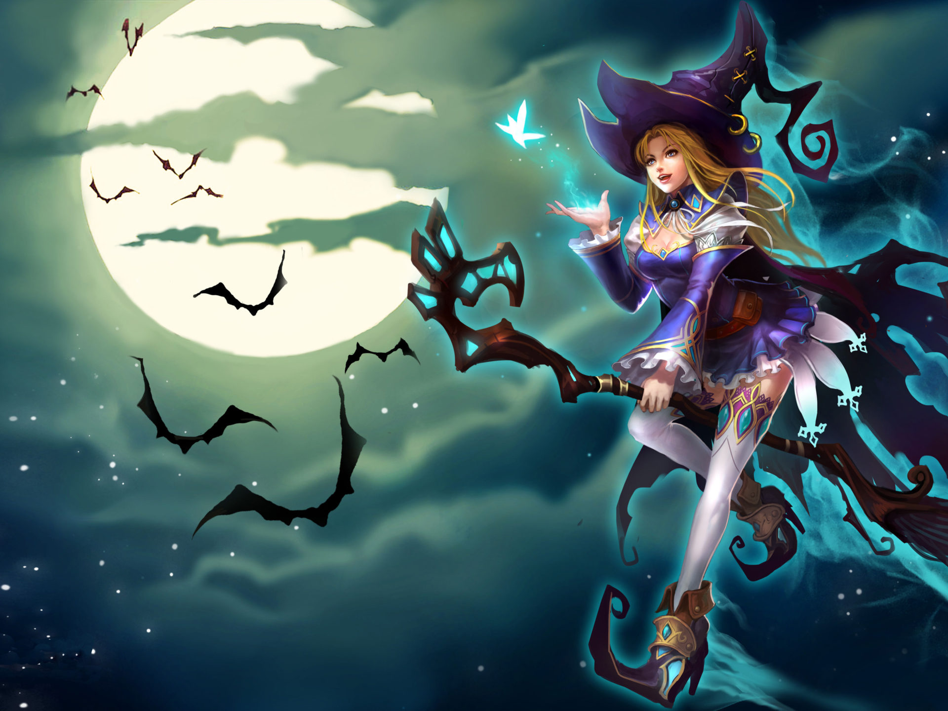 Pin Up Girl Wallpaper Hd Sally Blue Witch Riding A Broom League Of Angels Game
