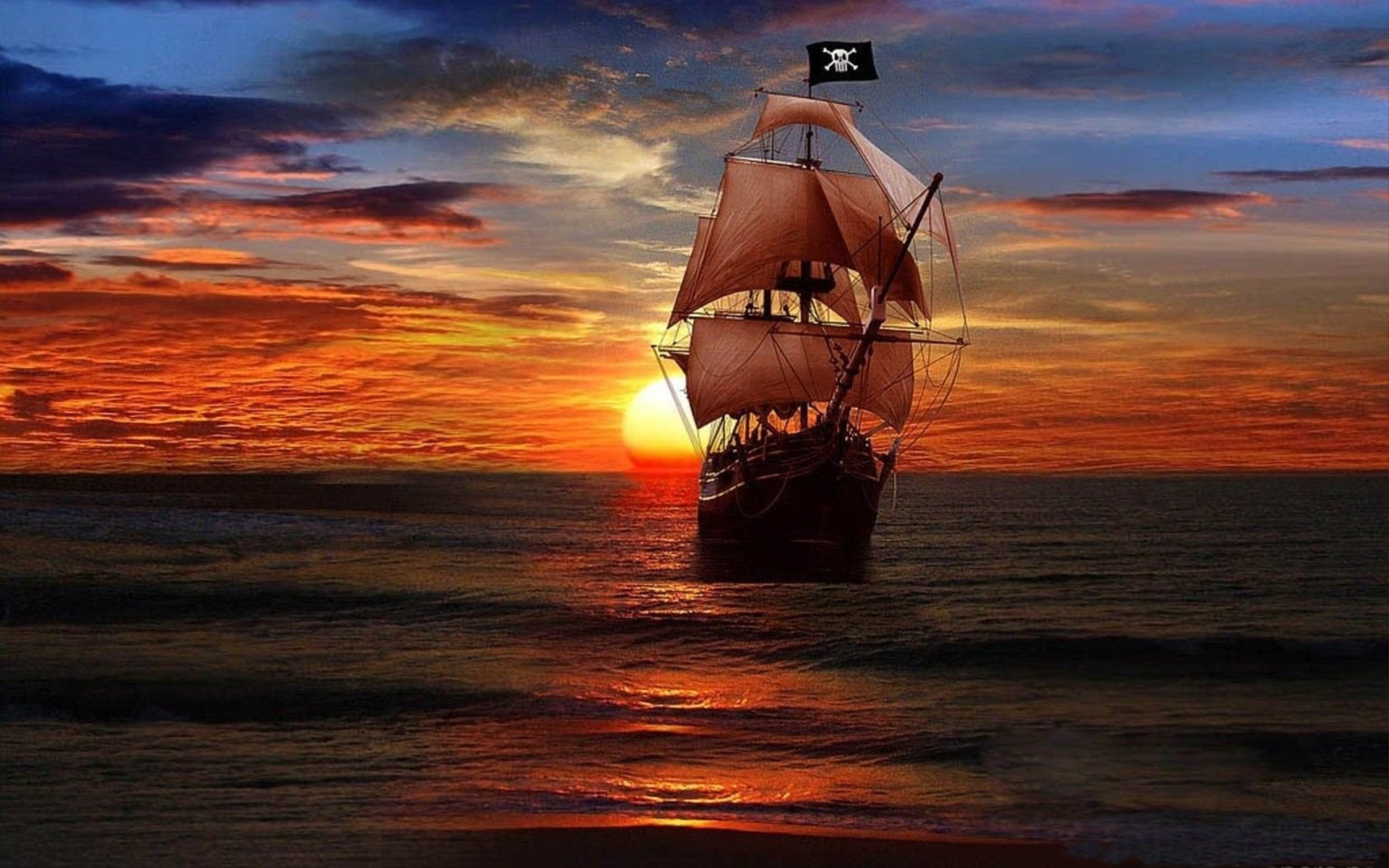 Free Wallpaper Old Cars Sunset And Pirate Ship Fantasy Art Desktop Wallpaper Hd