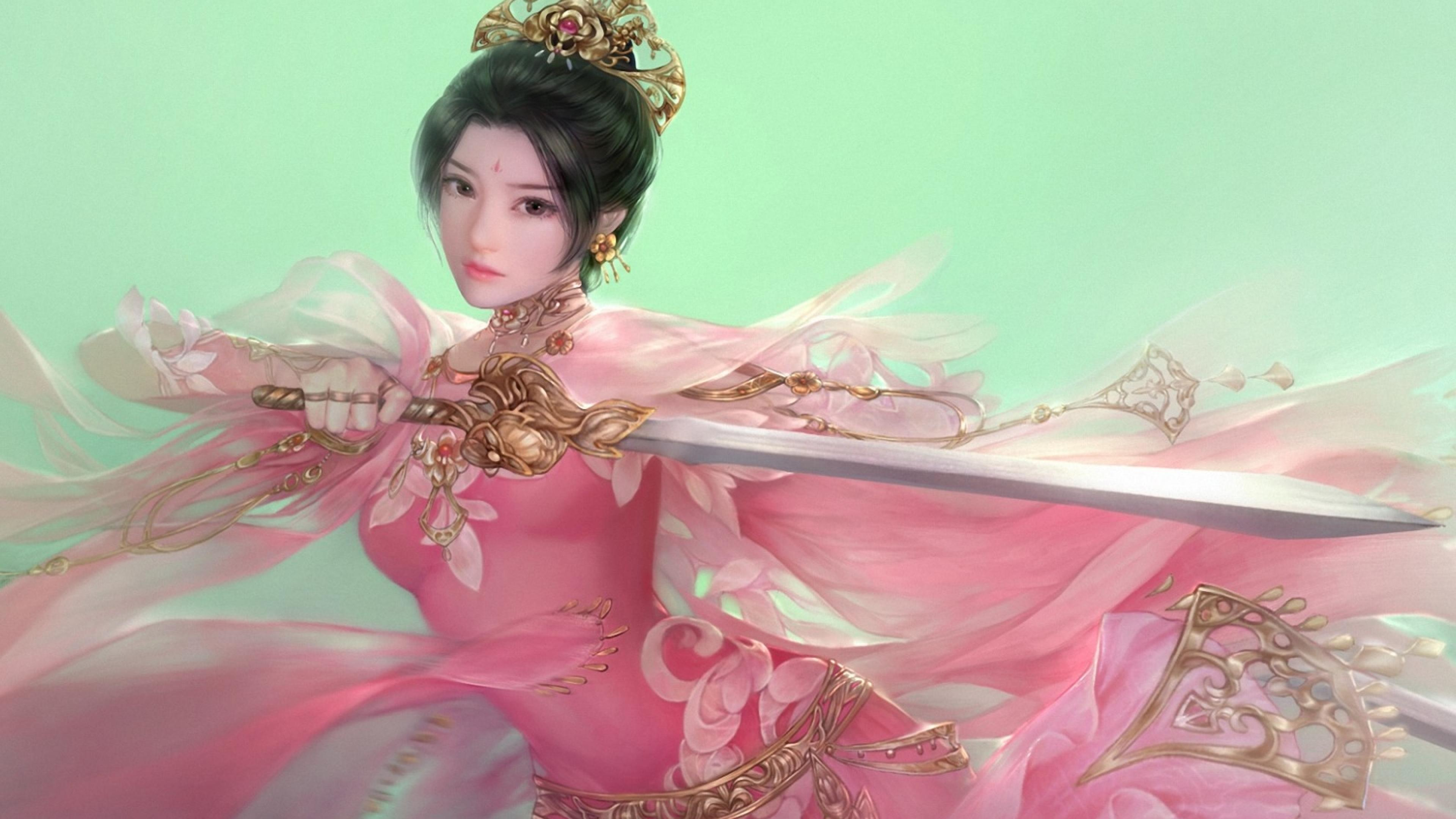 3d Animation Wallpaper For Pc Download Warrior Asian Sword Fantasy Girls Fighter Green Beauty