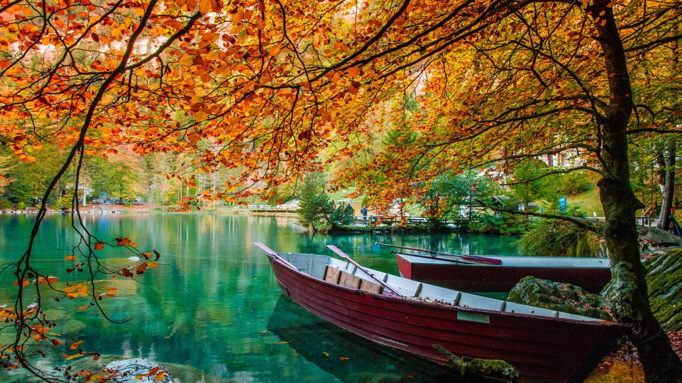 Fall Colors Desktop Wallpaper Autumn Lake Beautiful Turquoise Water Trees Hd Wallpaper