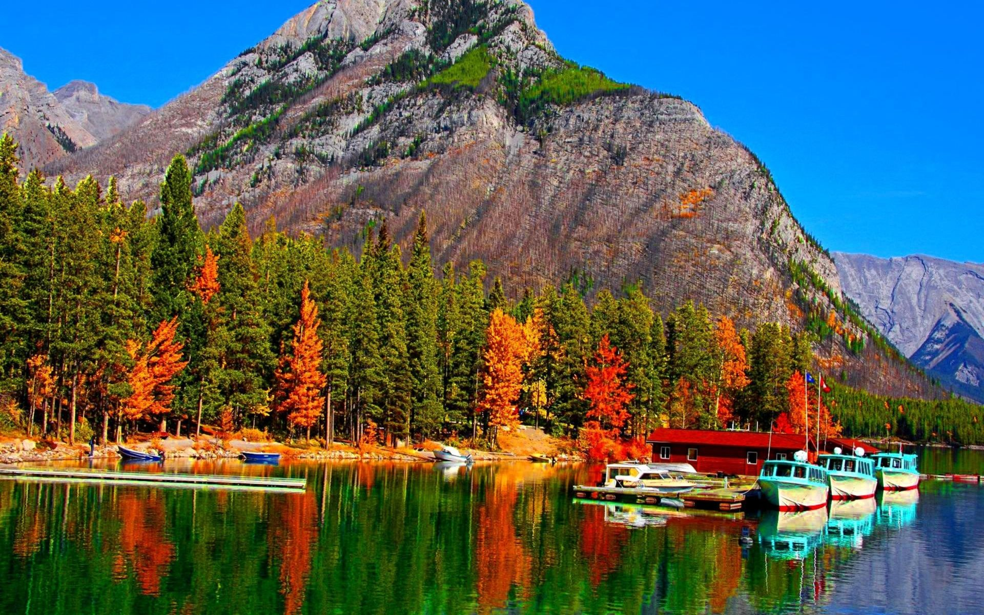 Fall In New England Wallpaper Fall Colors On Lake Banff In Canada Boats Hd Wallpaper