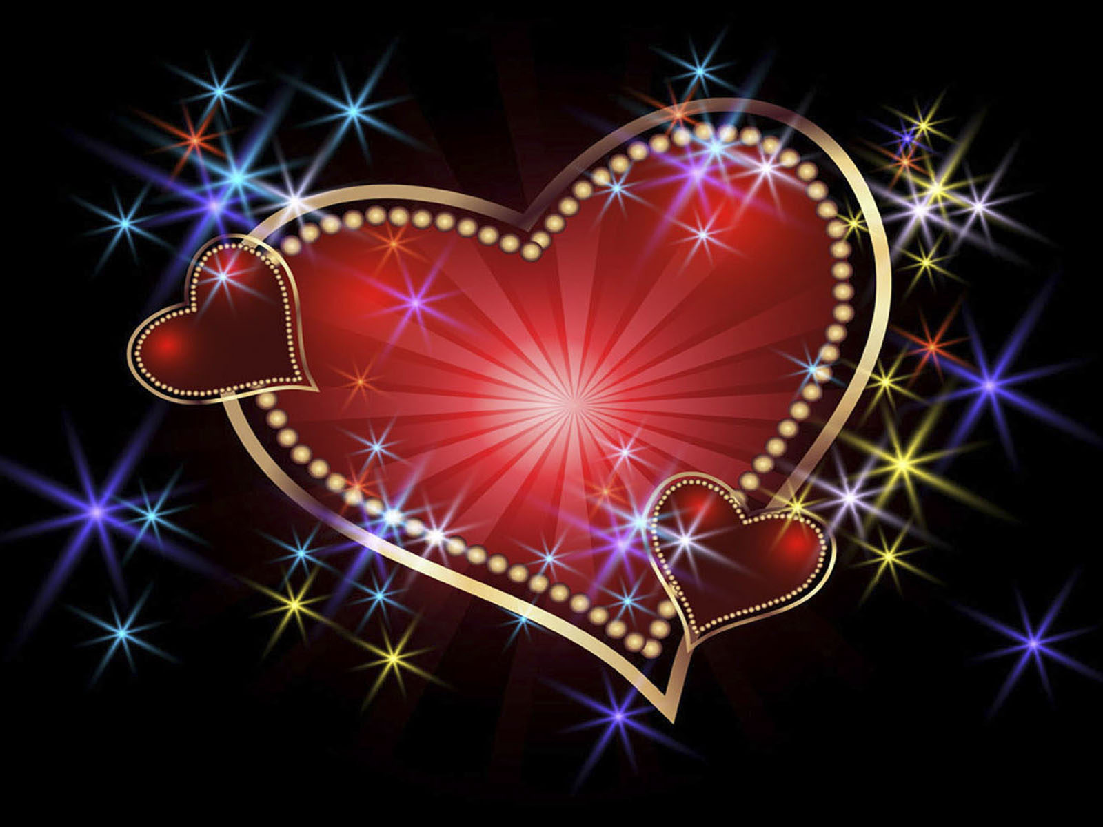 Boy Girl Kiss Love Wallpapers Glowing Background With Stars And Hearts Wallpapers13 Com