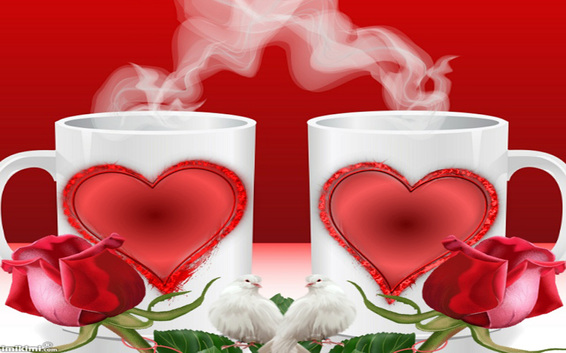 Cute Couple Kissing Wallpaper Download Love Cup Of Coffee Or Two Red Hearts Red Roses