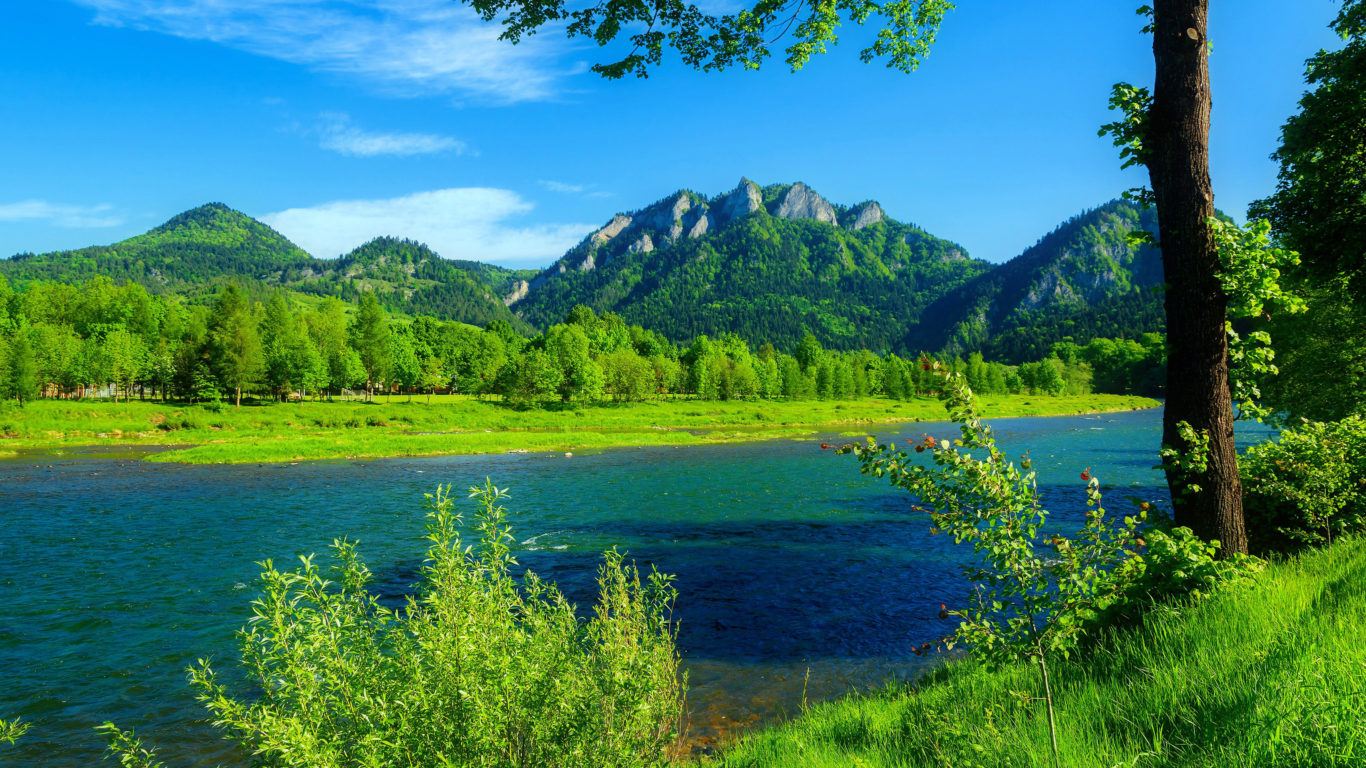 Iphone X Full Wallpaper Size River Dunajec Poland Summer Landscape Mountains With