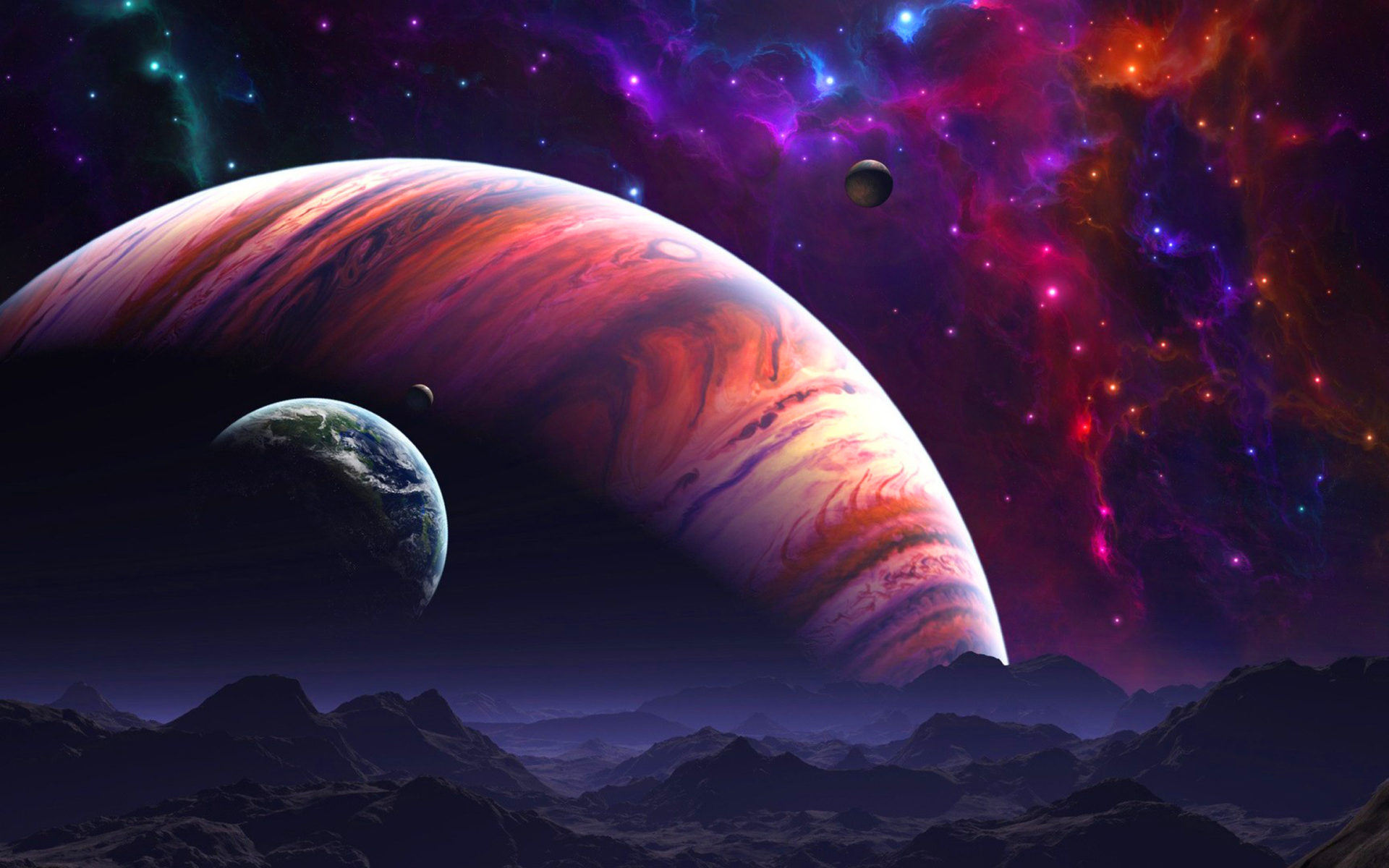 3d Moving Wallpapers City Lights Space Art Nebula Wallpaper Wallpapers13 Com