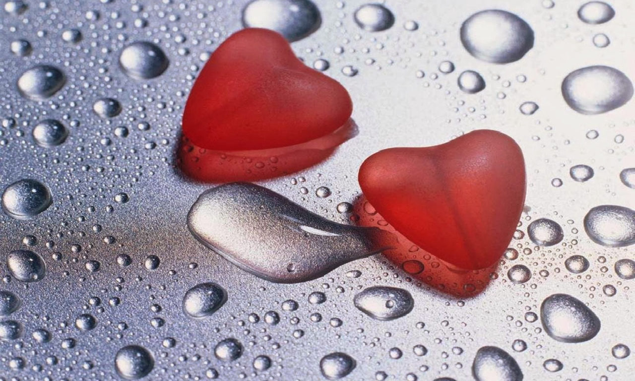 Girl And Boy Kiss Wallpaper Download Two Red Hearts Drops Water 69 Wallpapers13 Com