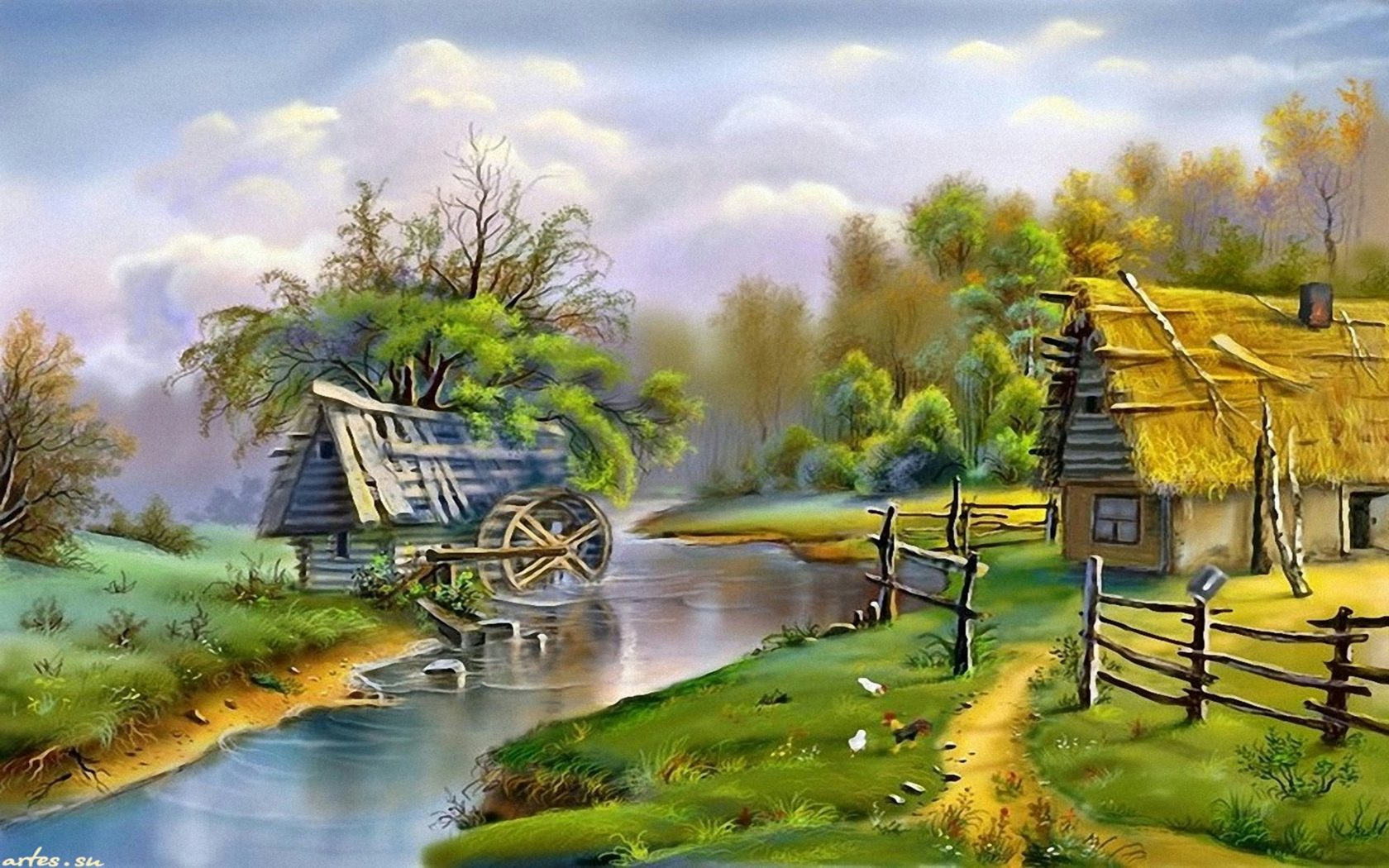Beautiful Fall Paintings Wallpapers Beautiful Landscape River Mill 0853 Wallpapers13 Com