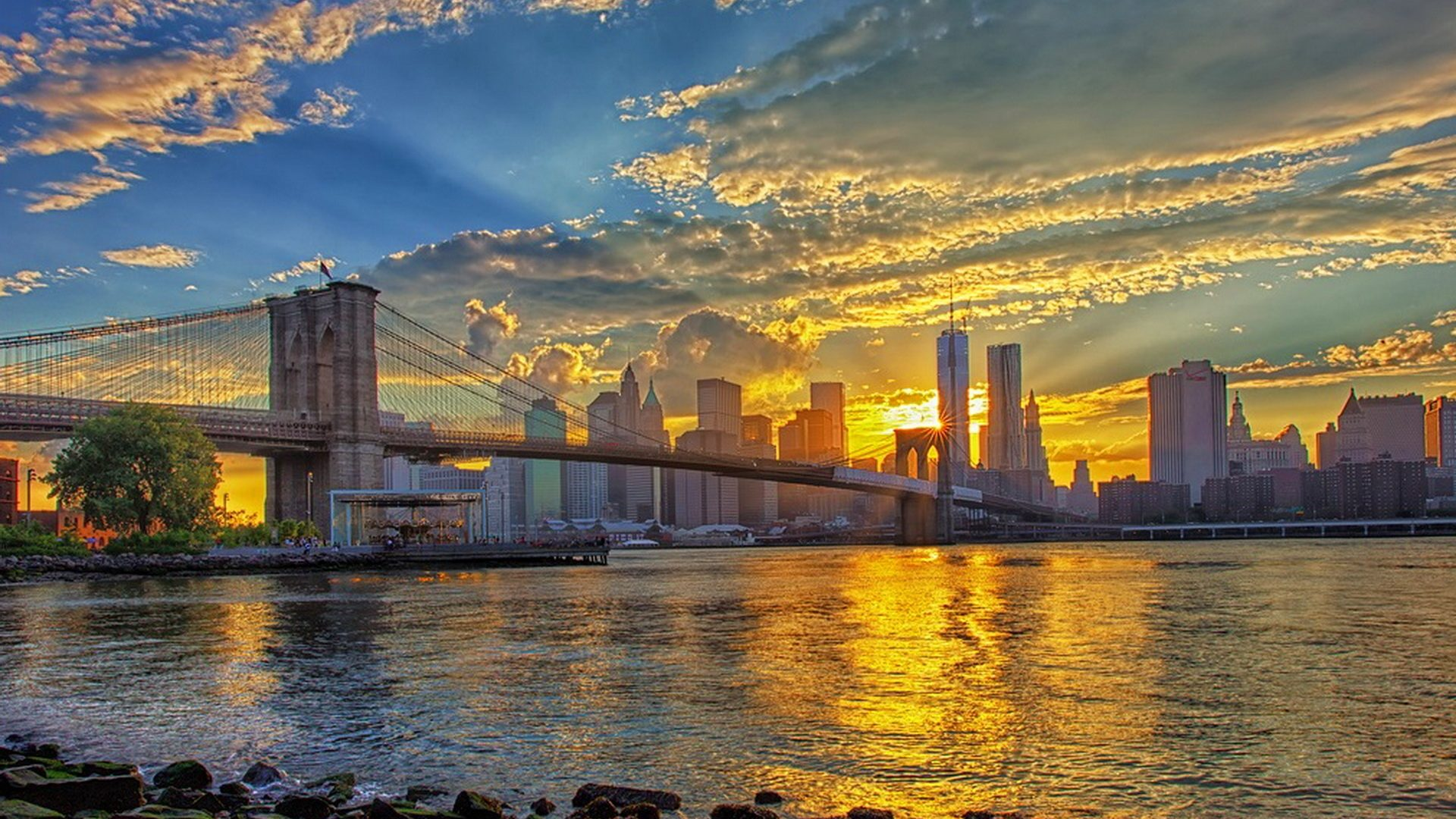Iphone X Wallpaper Gif Landscape Bridges Brooklyn Bridge Sunrise Beautiful New York Sky