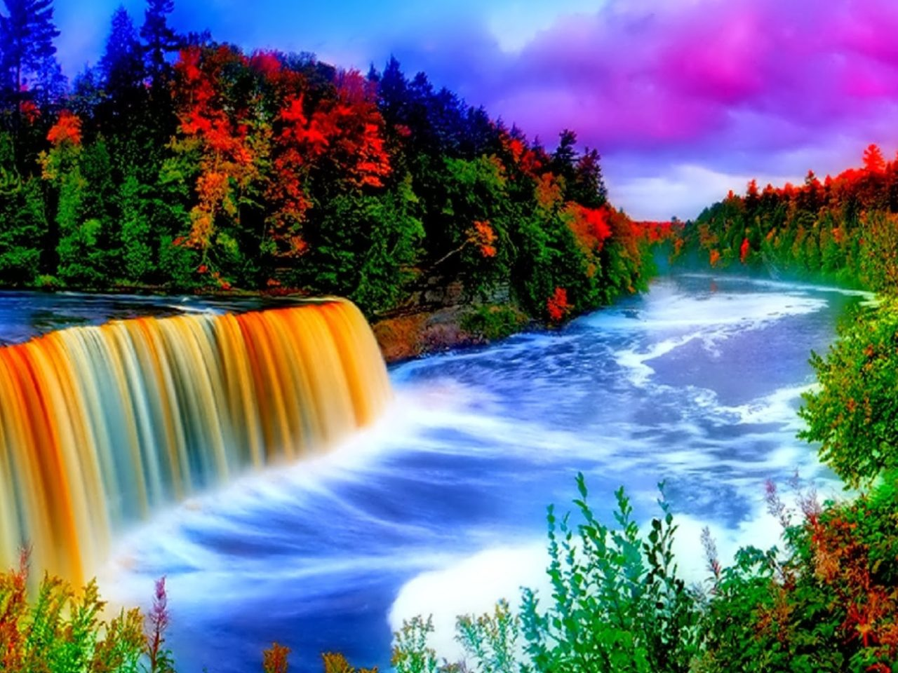 Victoria Falls Wallpapers High Resolution Colorful Waterfall Background 9665 Wallpapers13 Com