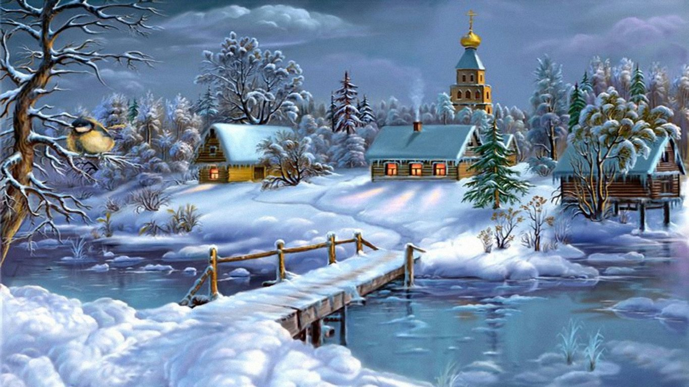 Fall Winter Wallpaper Free Download Wallpaperlandscape Winter Frozen River House