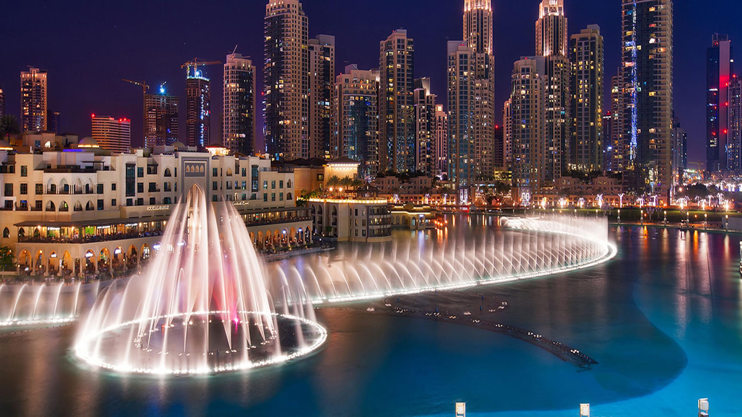 3d Wallpaper In Qatar Dubai Fountains Fountain On The Burj Khalifa Lake