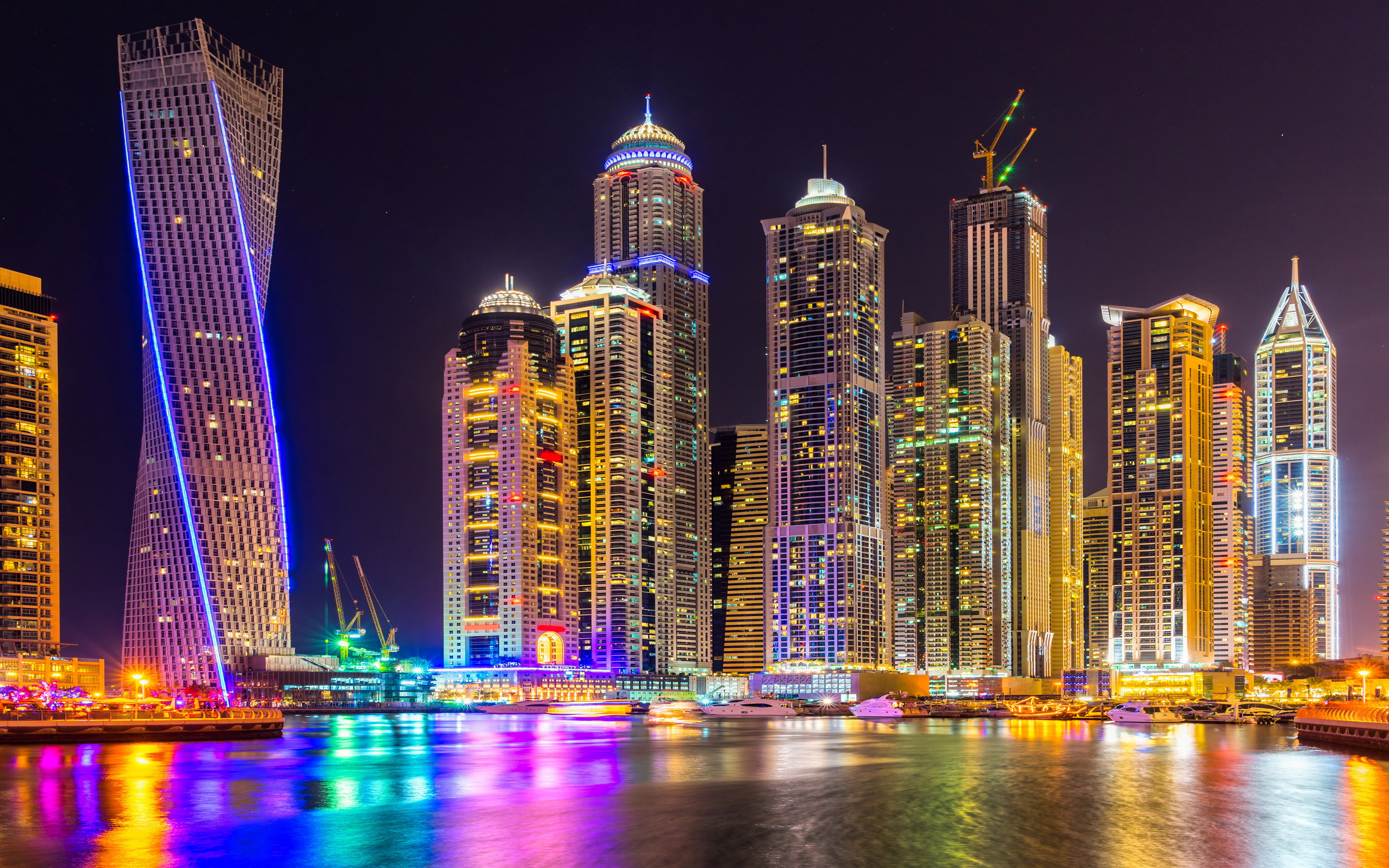Car Desktop Wallpaper Hd 3d Full Screen Free Download Dubai City Of Skyscrapers Tall Buildings Night Light