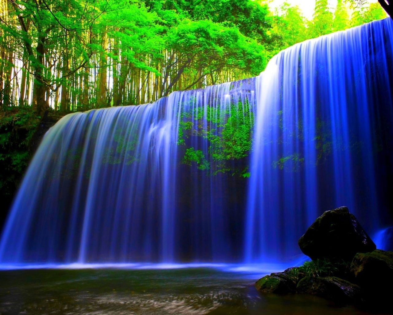 Full Screen Desktop Fall Wallpaper Glowing Blue Waterfall Wallpaper Hd Wallpaper