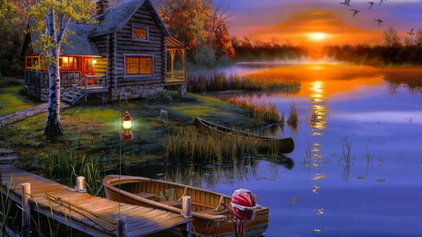 Fall Scenes For Computer Wallpaper House Lake Sunset Wallpaper 08453 Wallpapers13 Com