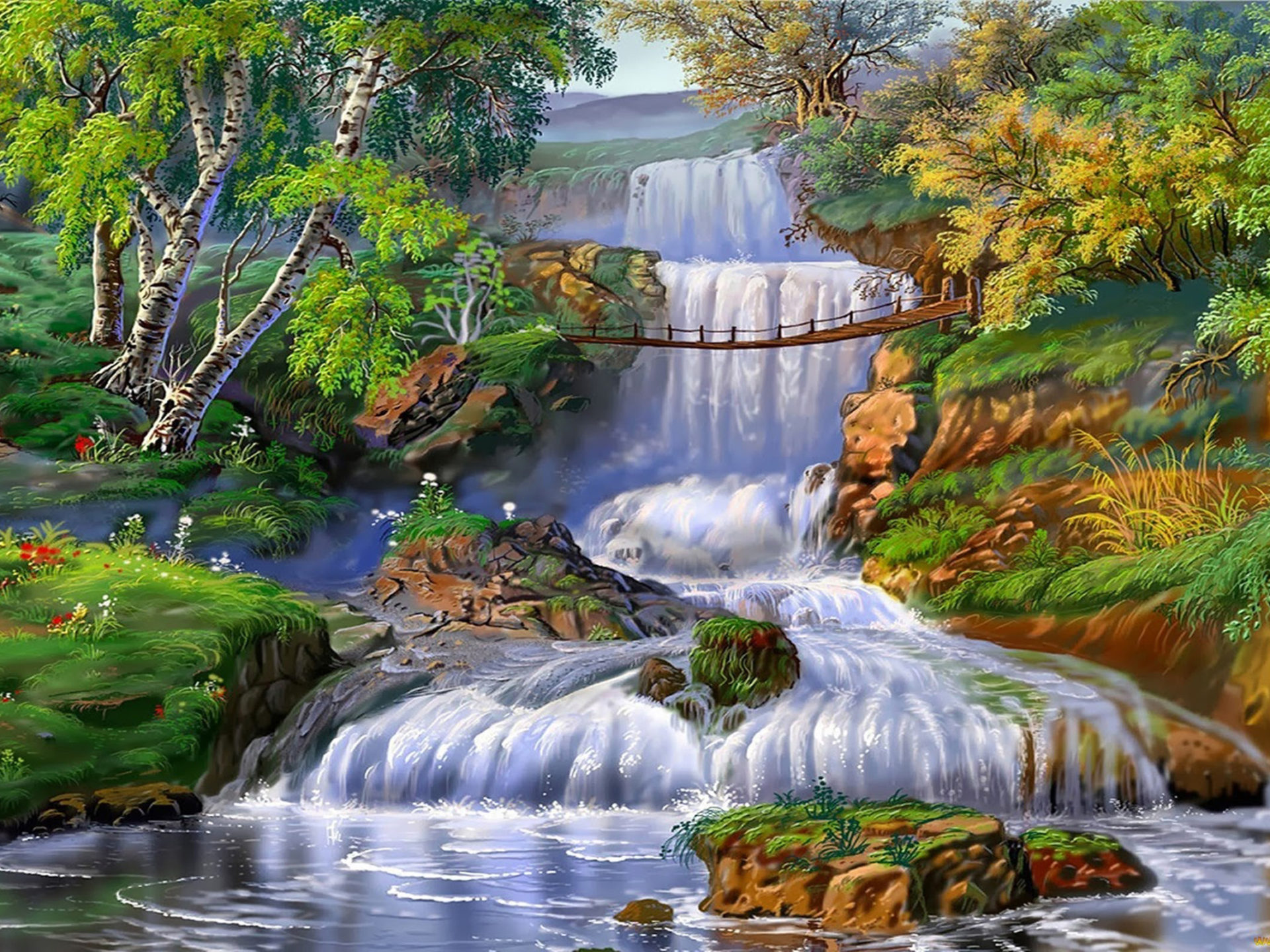 Free Fall Flowers Desktop Wallpaper Landscape Waterfall Grass Trees 1294 Wallpapers13 Com
