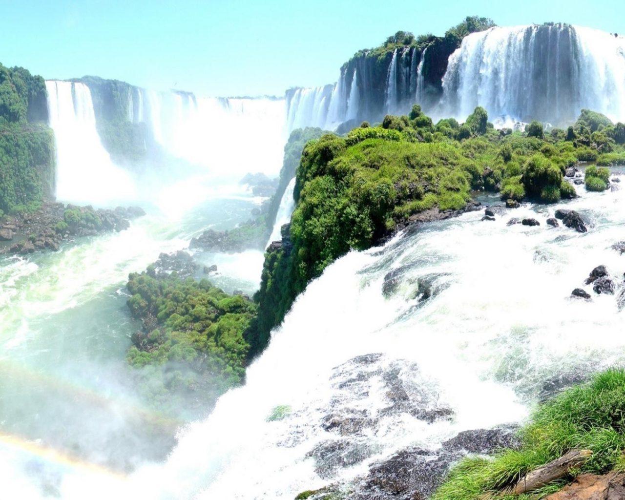 Iguazul Falls Wallpaper Landscape Waterfall Rocks Trees Hd Wallpaper Iguazu