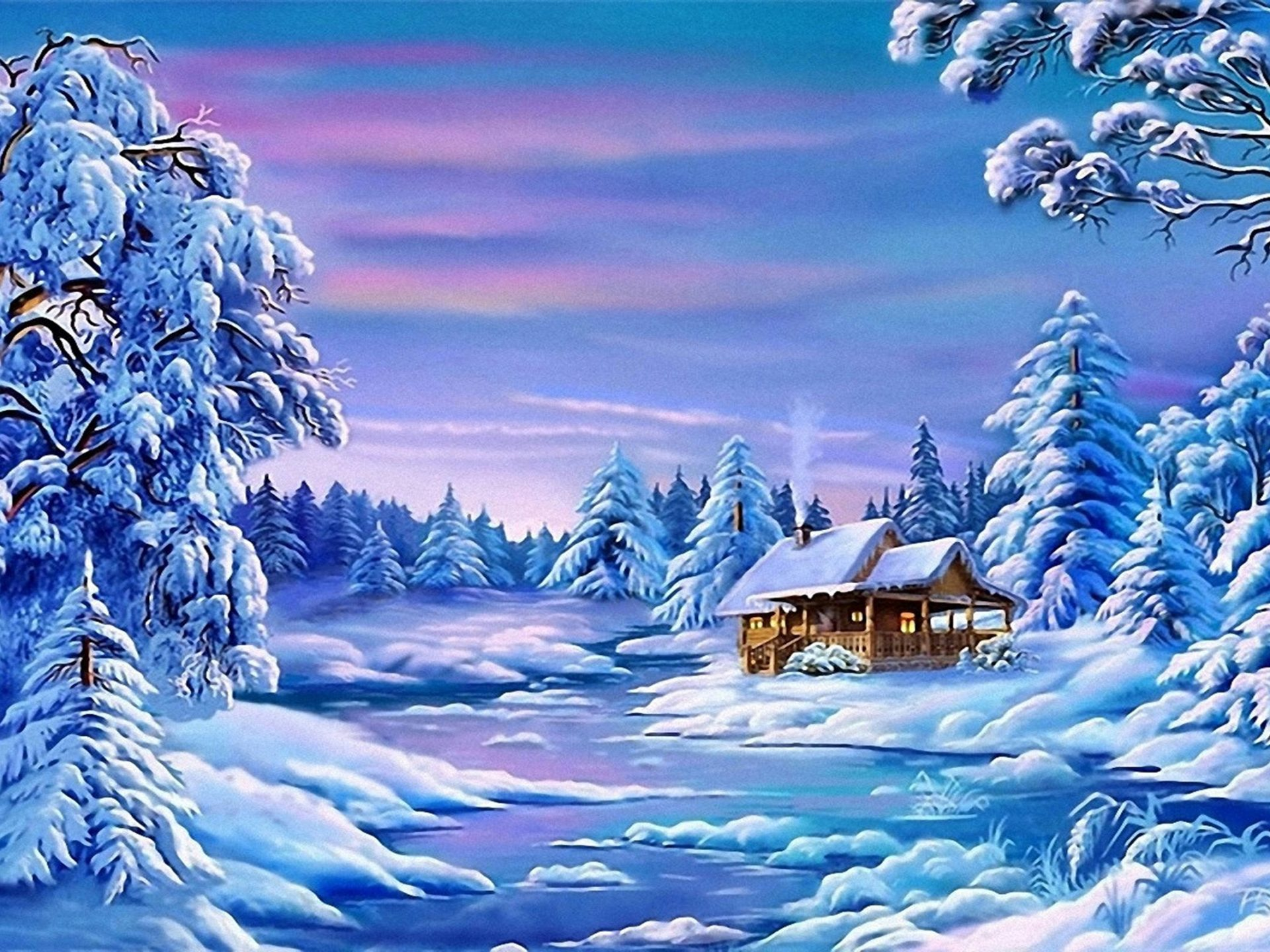 Image Of Beautiful Girl Wallpaper Landscape Winter Frozen River House Trees With Snow