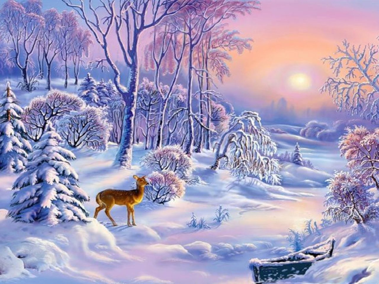 Beautiful Girl Wallpaper Pictures Download Landscape Winter Sun Boat Snow Trees Deer