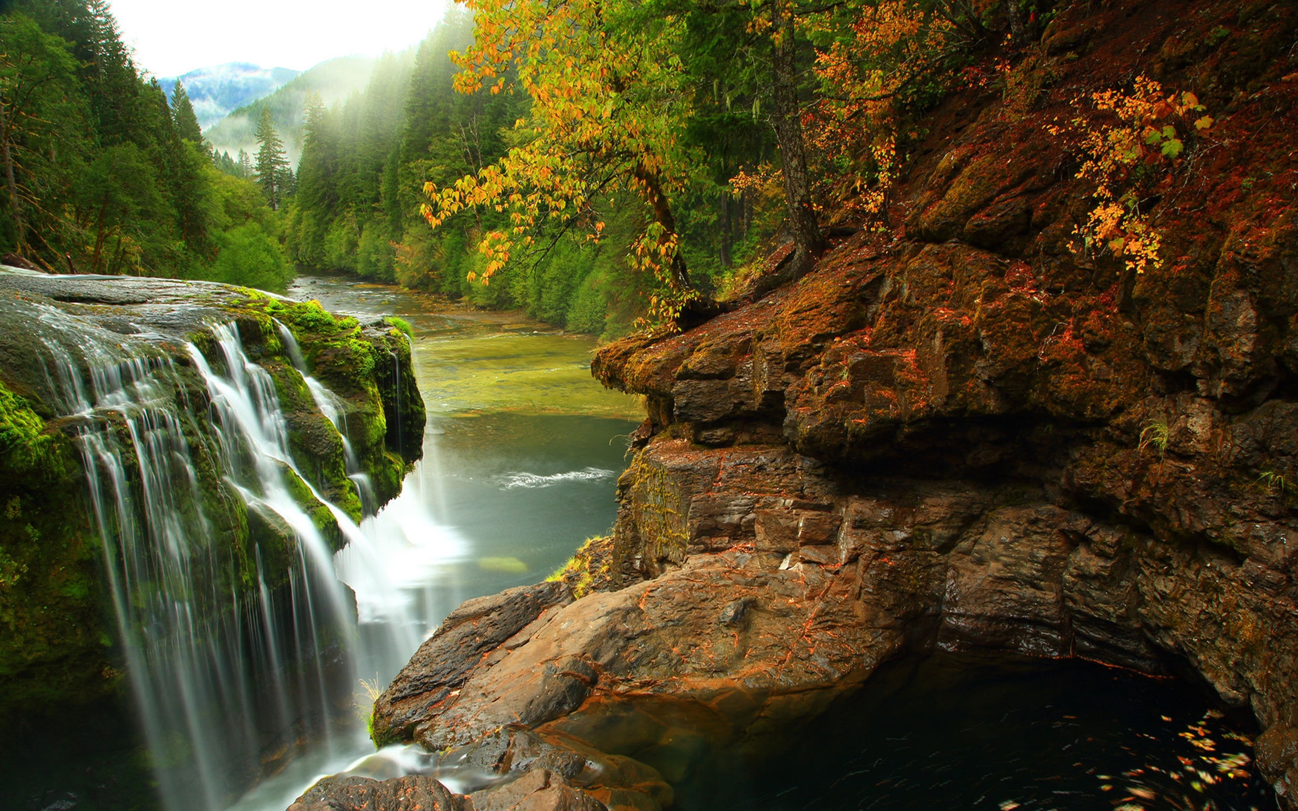 Stunning Fall Wallpapers Lewis River Falls In Gifford Pichot Forest In Washington