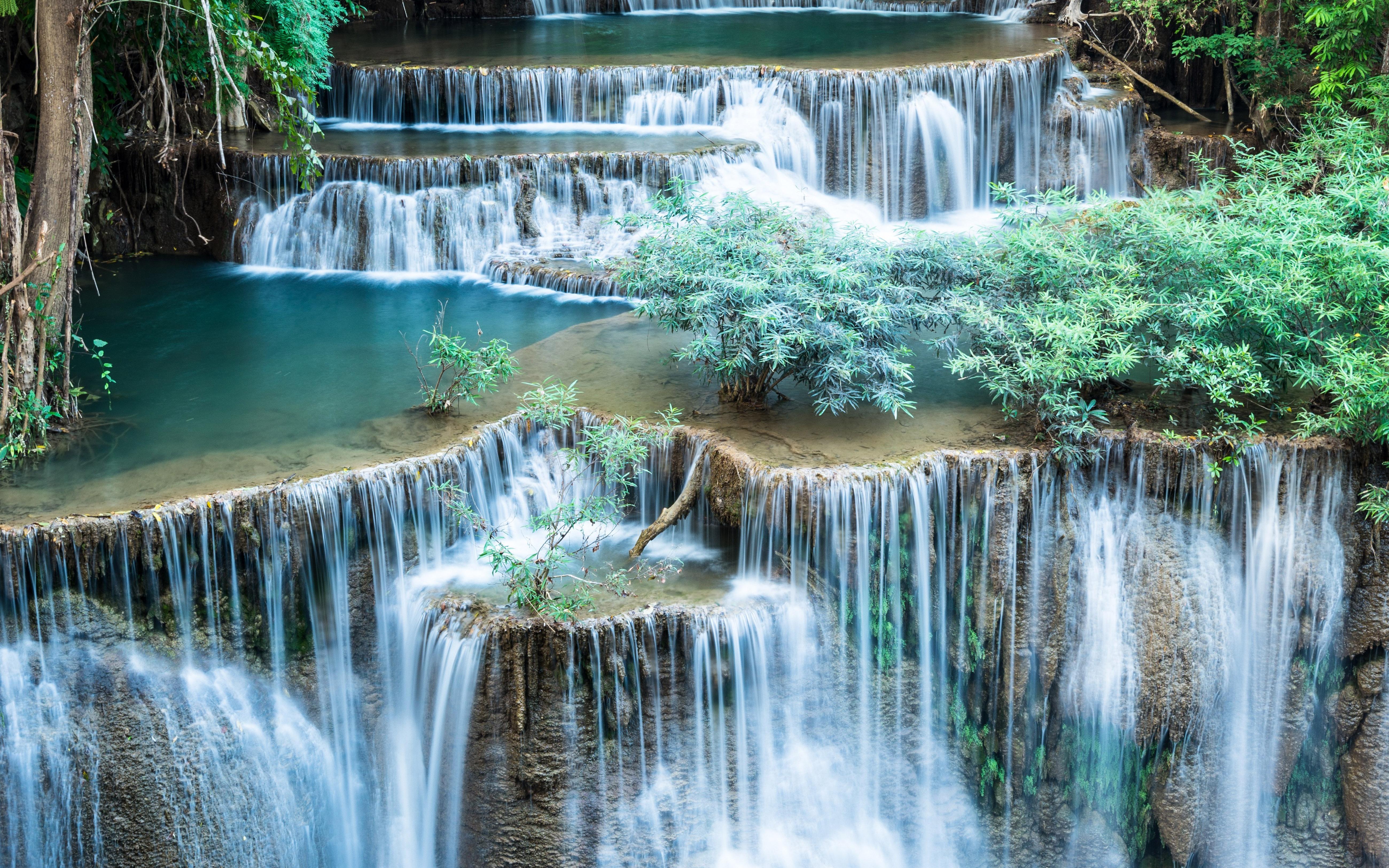 Falls Hd Wallpaper Free Download Lovely Cascading Waterfall With Green Shrub Desktop