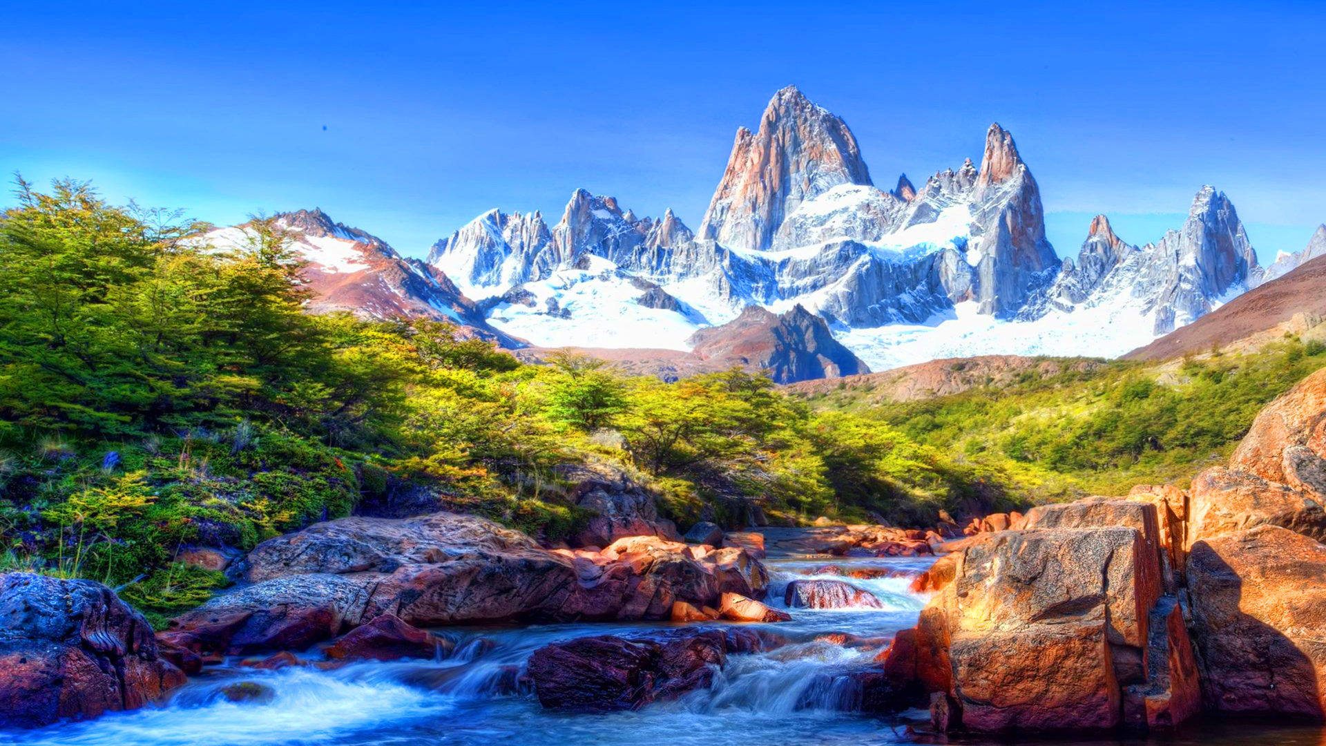 Fall Flowers Desk Background Wallpaper Mountain Scenery With Snow Covered River Rocks Beautiful