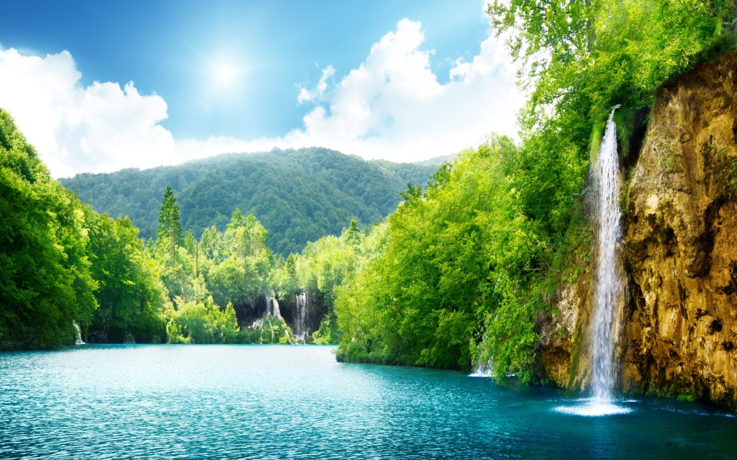 Hd Wallpapers Android Lock Screen Nature Waterfall Summer Lake Trees Hd Wallpaper 87432