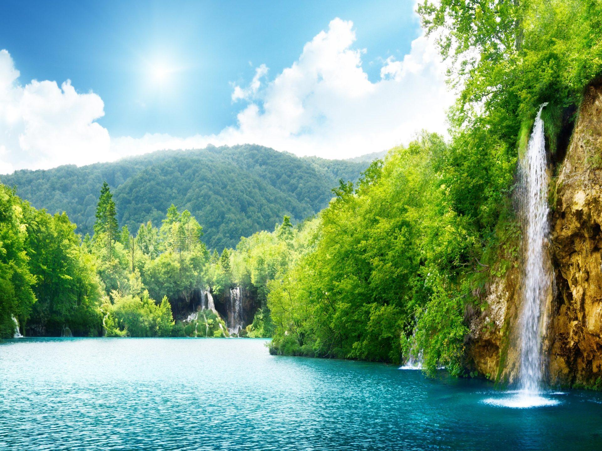 Diamond Iphone Wallpaper Hd Nature Waterfall Summer Lake Trees Hd Wallpaper 87432