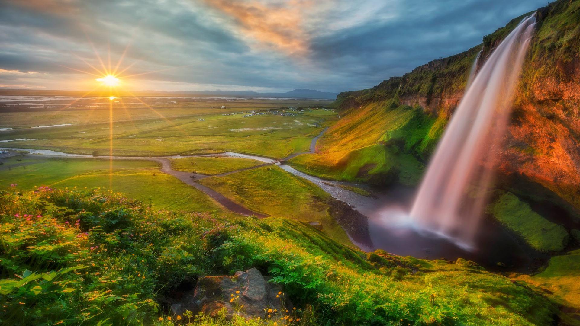 Water Fall Hd Wallpaper 4k Photo Wallpaper Hd Waterfall River Valley Sunset