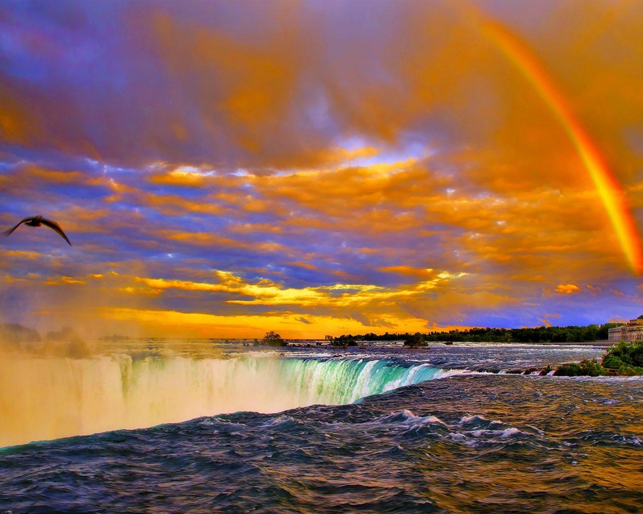 Niagara Falls Wallpaper Rainbow Sunset Over Niagara Falls Desktop Background