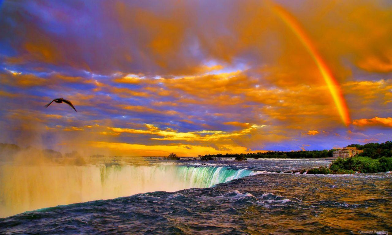 Niagara Water Falls Desktop Wallpaper Rainbow Sunset Over Niagara Falls Desktop Background