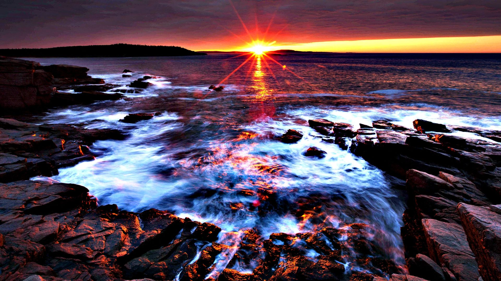 Fall In Maine Wallpaper Sunset At Acadia National Park Maine Desktop Background