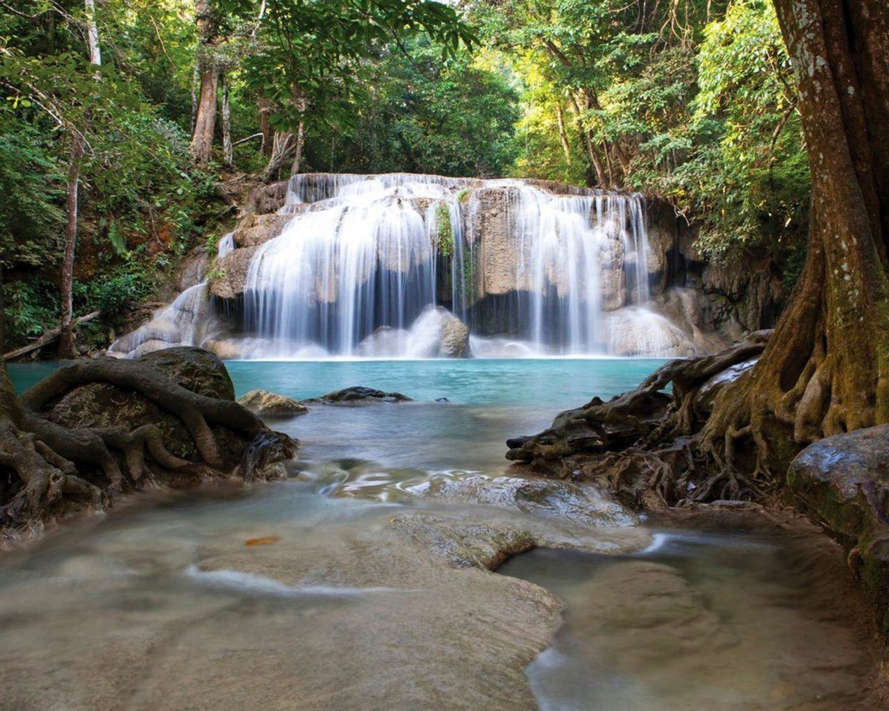 Iphone Wallpapers Hd Free Download Waterfall Erawan National Park Thailand 017458