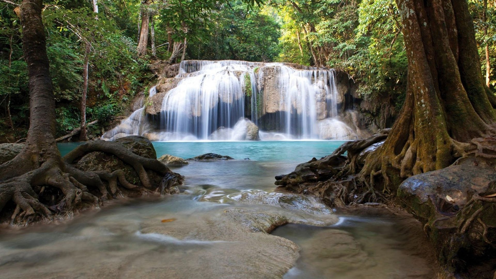 Free Fall Wallpaper For Android Waterfall Erawan National Park Thailand 017458