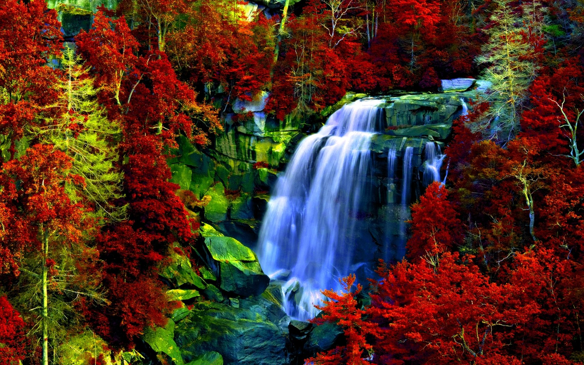 Multonomah Falls Wallpaper Desktop Waterfall Rocks Forest Red Leaves Background Hd