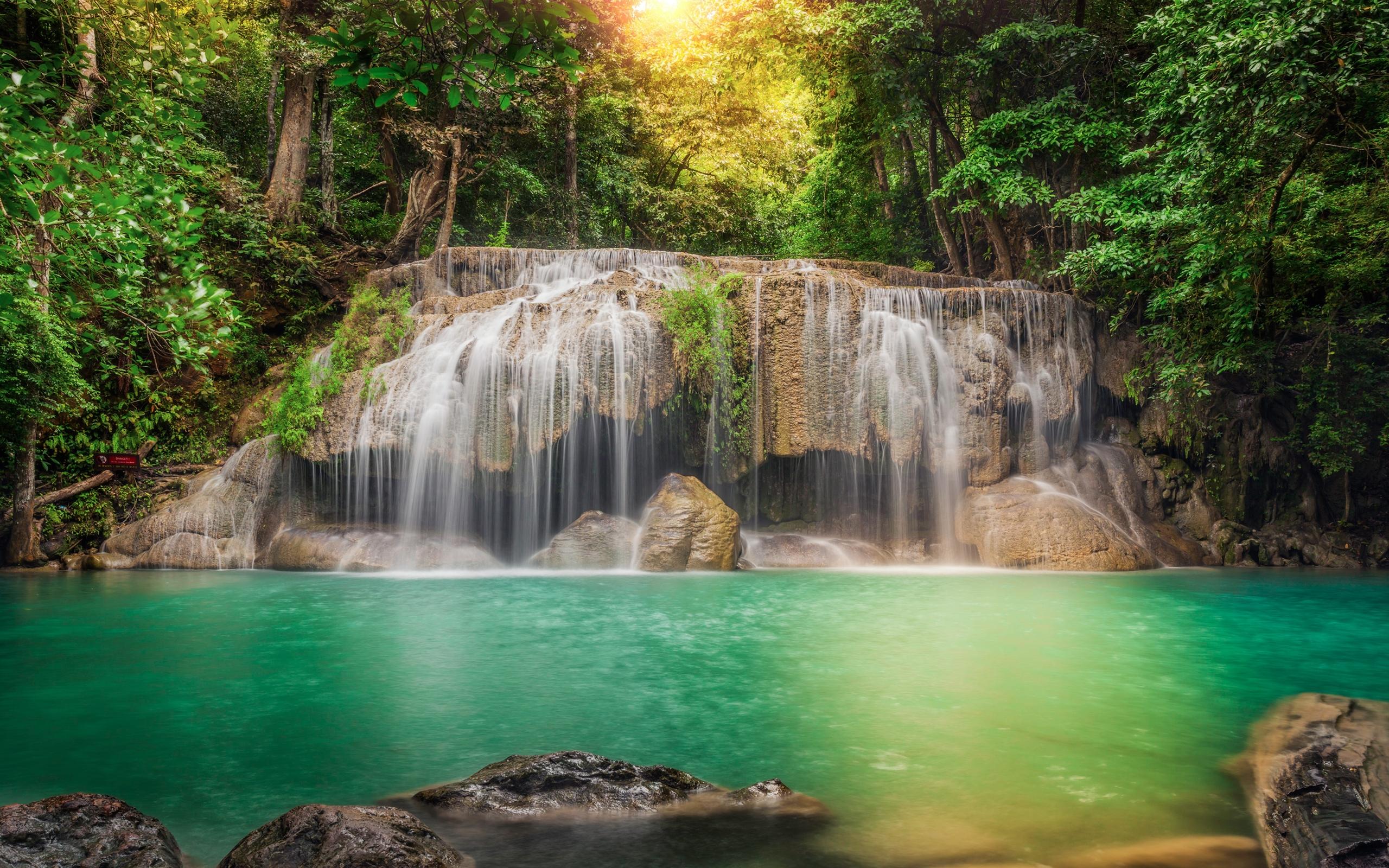 Iguazu Falls Wallpaper Thailand Stream Cascade Rocks Jungles Waterfalls Forest