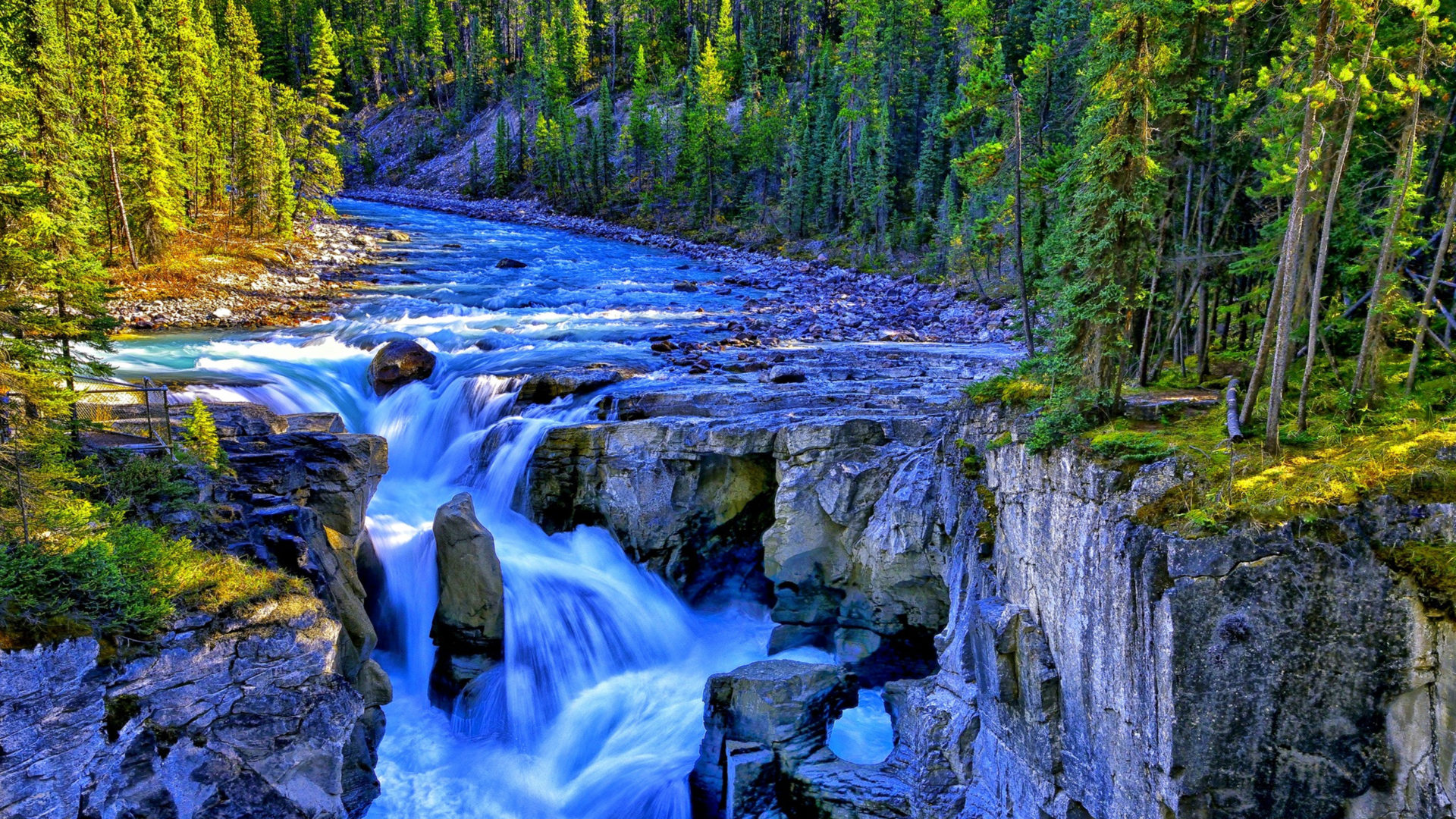 Lock Screen Wallpaper For Iphone 5 Waterfall River Rocks Forest Trees Rivers 323048