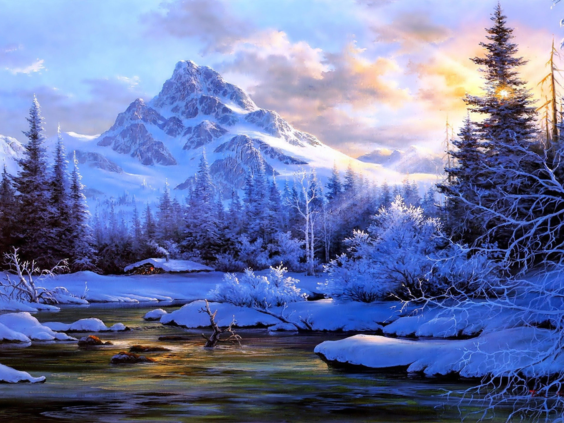 Beautiful Water Fall Scenery Wallpapers Winter Landscape Background Mountain River Trees Snow